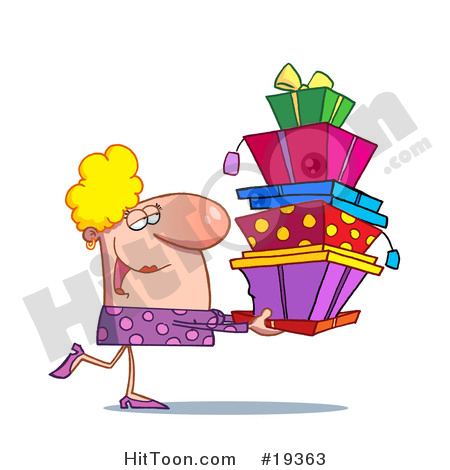 Presents Clipart #19363: Rich Blond Lady in Pink, Happily Carrying.