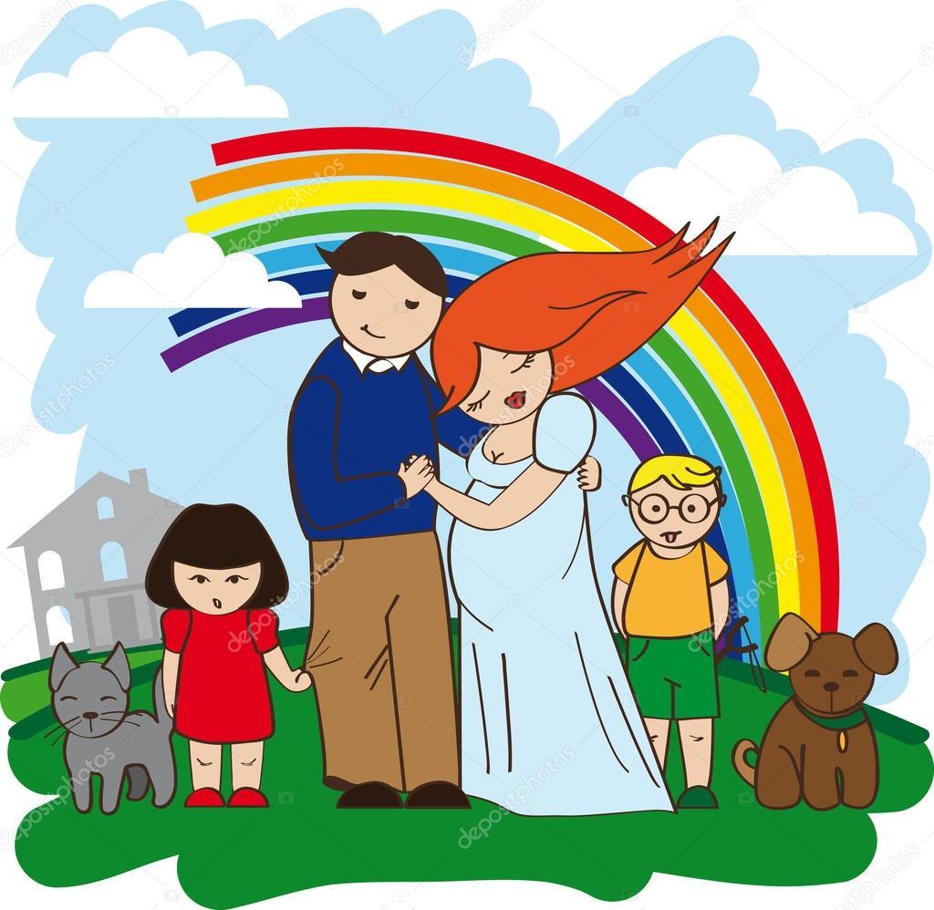 Happy family rich house — Stock Vector © dragonflylexx #8942632.