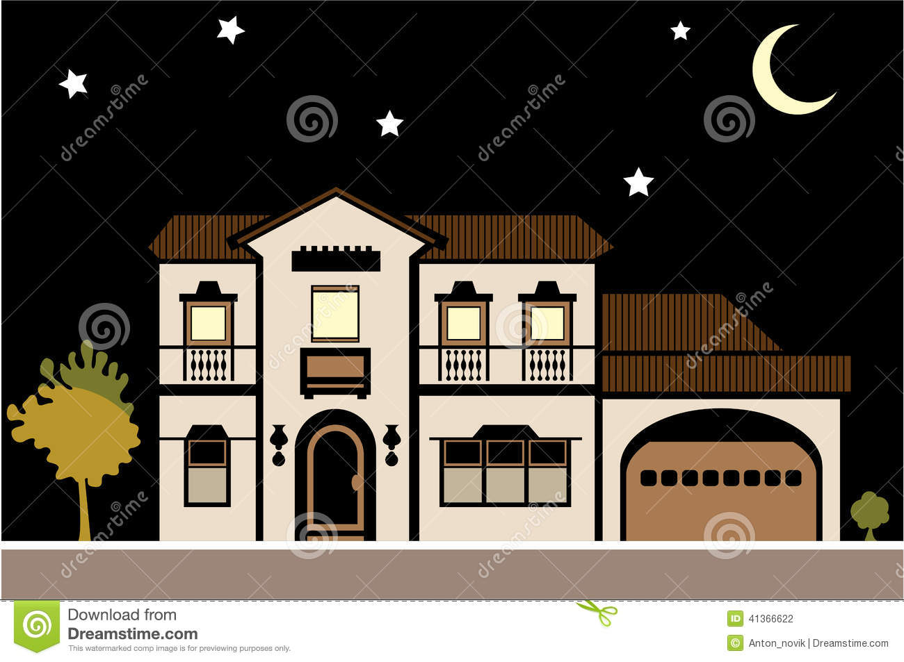 House Mansion Night Stock Vector.