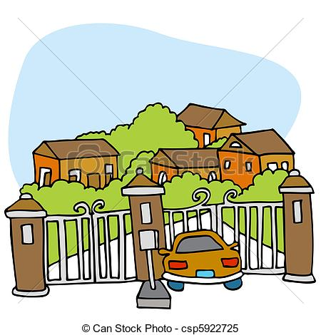 Clipart Vector of Gated Community.