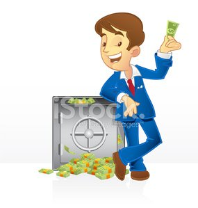Rich Man and His Vault premium clipart.