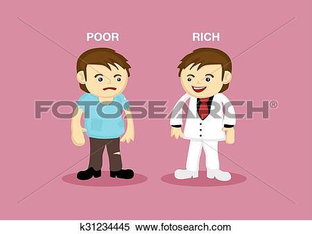 Clipart of Rich Man Poor Man Cartoon Illustration k31234445.