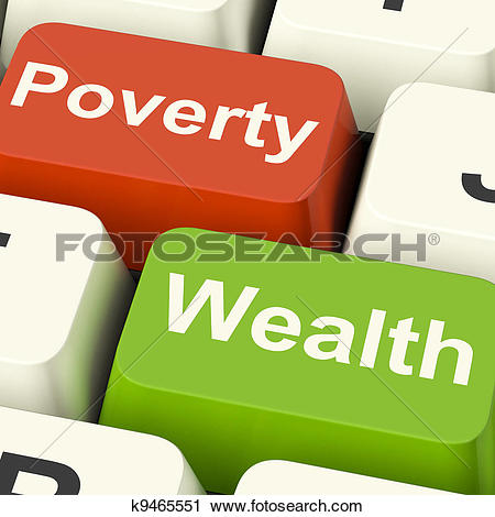 Stock Photography of Poverty And Wealth Computer Keys Showing Rich.