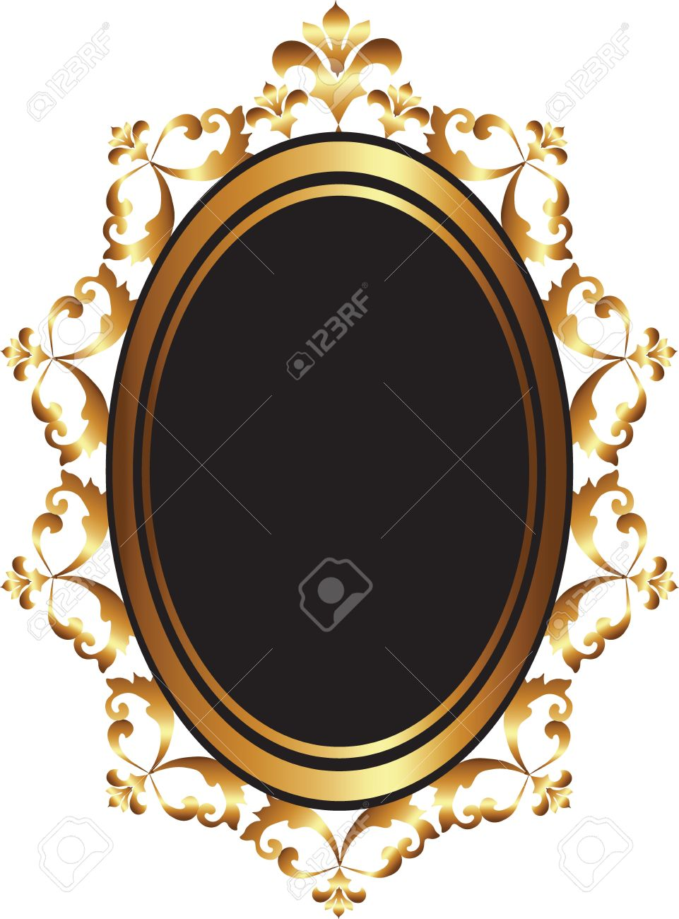 Golden Baroque Mirror Frame Decor. Vector French Luxury Rich.