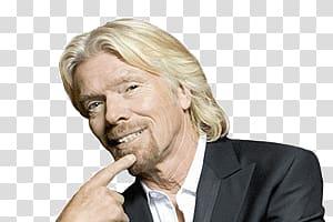 Smiling man wearing black blazer, Richard Branson Sideview.