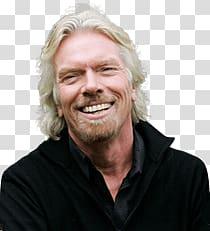 Man wearing black top, Richard Branson Happy transparent.
