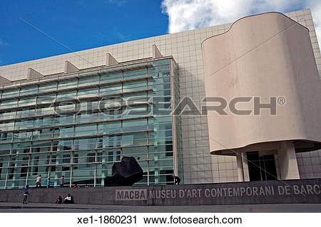 Stock Photography of MACBA, architecture, Richard Meier, 1995.