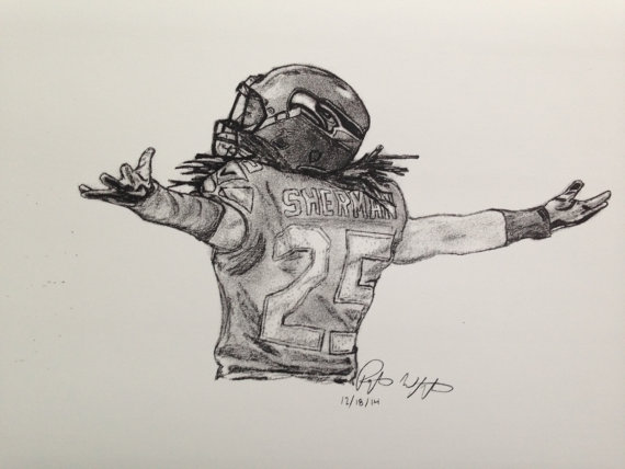 Items similar to Richard Sherman Drawing on Etsy.