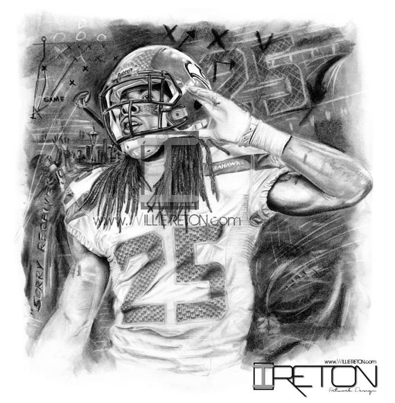 Richard Sherman Charcoal/Pencil Drawing. Print of Seattle.