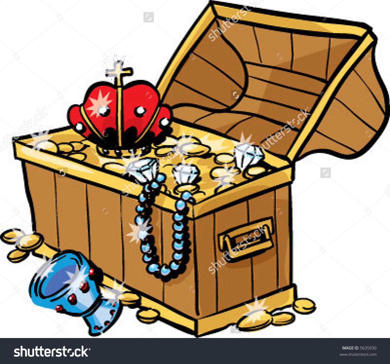 Vector Antique Chest Full Glimmering Treasure Stock Vector 5635930.