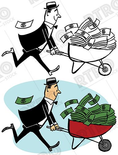 A man pushes a wheelbarrow that is overflowing with cash.