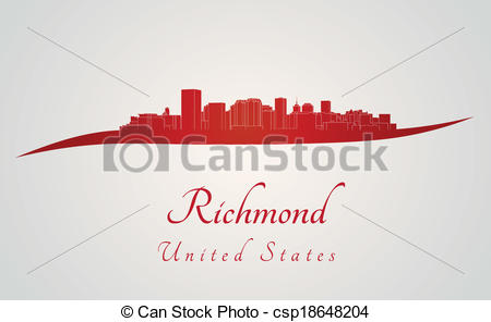 Vector Clipart of Richmond skyline in red and gray background in.