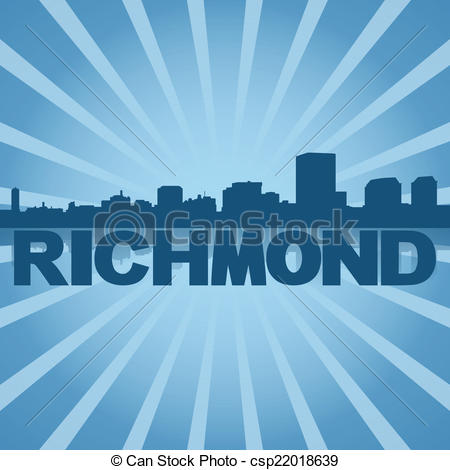 Drawings of Richmond skyline reflected with blue sunburst.