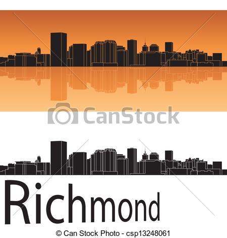 Clipart Vector of Richmond, Virginia skyline city silhouette.
