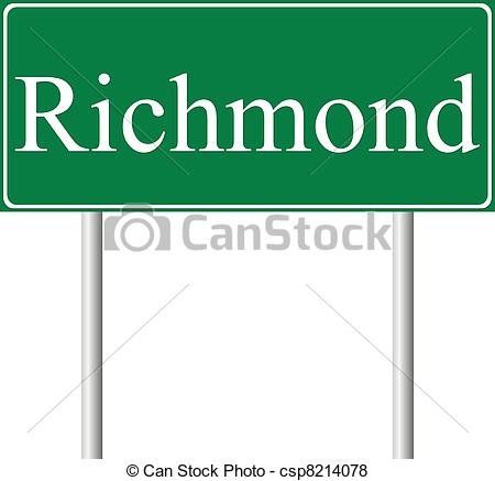 Vector of Richmond green road sign isolated on white background.