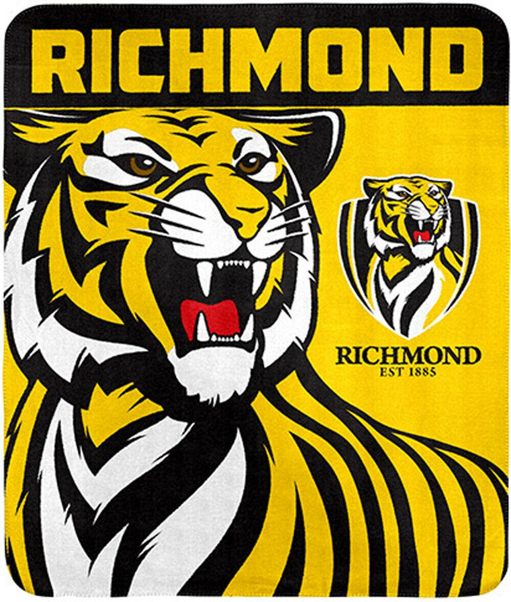 Details about Richmond Tigers Logo Polar Fleece Throw Rug Blanket.