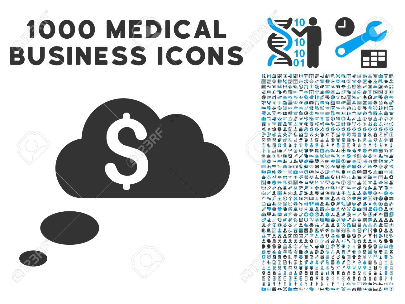 Richness Dream Clouds Icon With 1000 Medical Business Gray And.