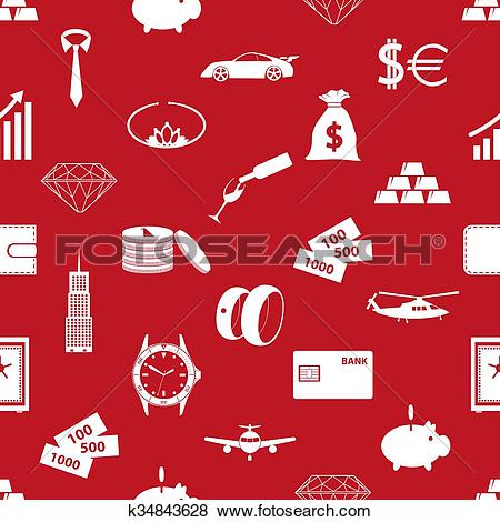 Clip Art of richness and money theme red seamless pattern eps10.