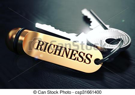 Stock Illustration of Richness written on Golden Keyring..