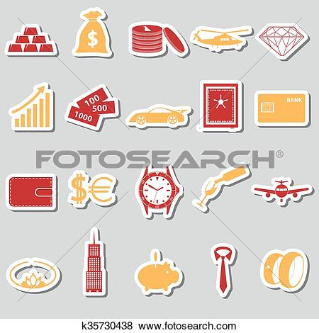 Clip Art of richness and money theme color stickers set eps10.