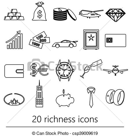 Vector Clip Art of richness and money theme black outline icons.