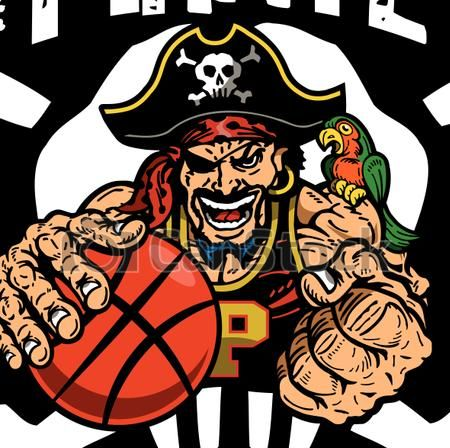 EPS Vector of pirate basketball team design with mascot inside.