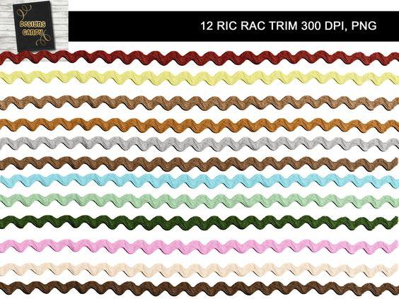 12 Colorful Ric Rac Borders.