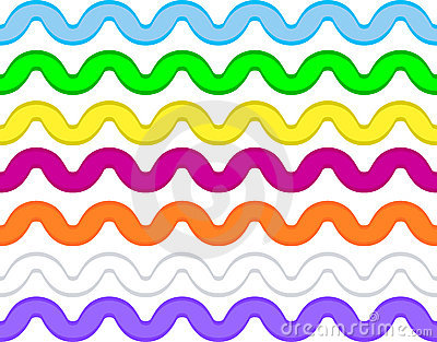 Vector Eps8 Ric Rac In 7 Colors Royalty Free Stock Image.