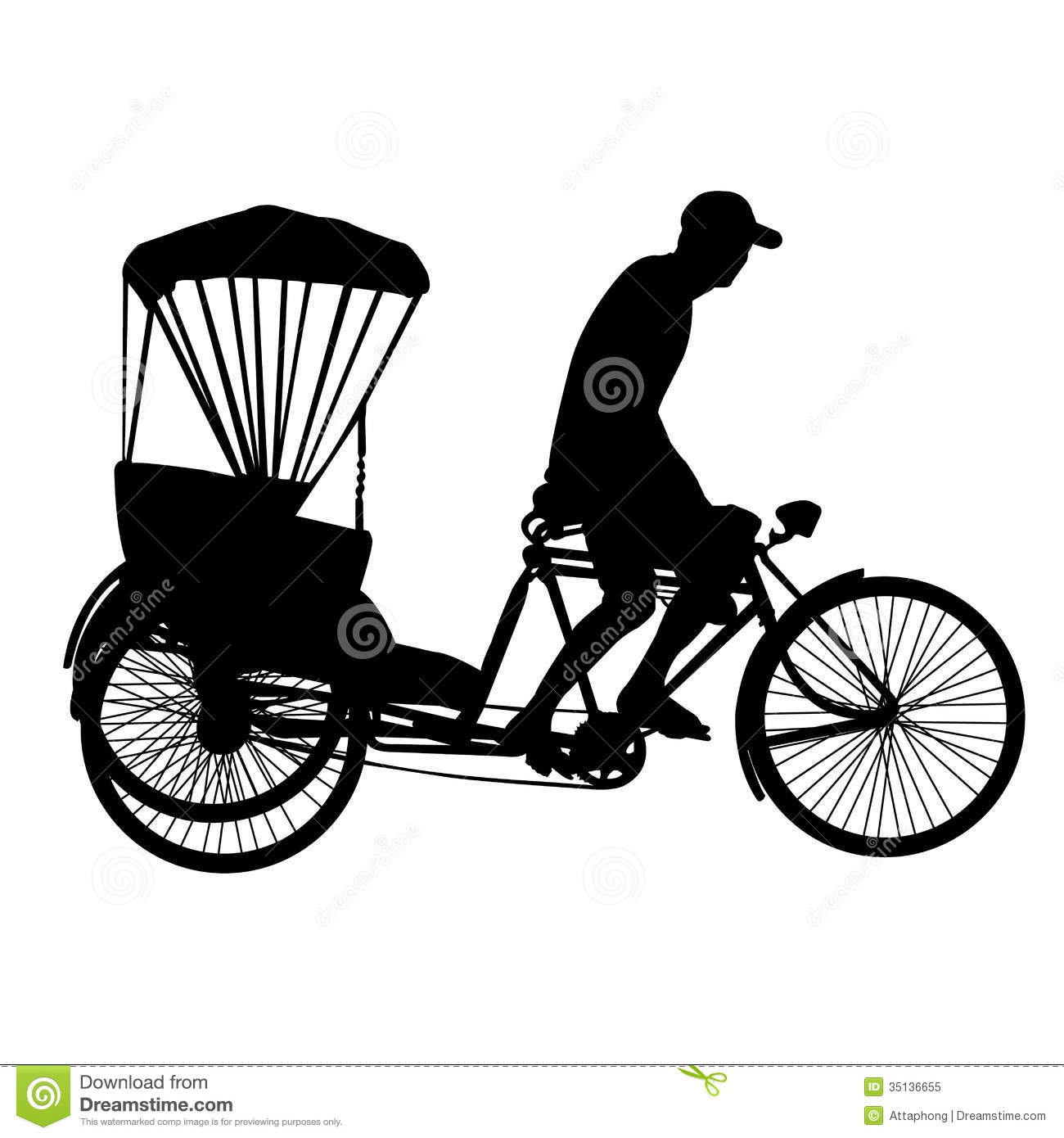 Cycle rickshaw clipart.