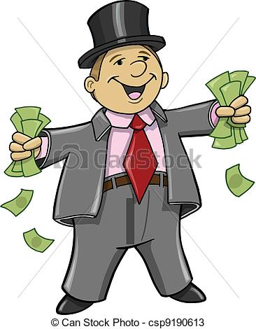 Vectors of Rich Business Man with money Vector Illustration.
