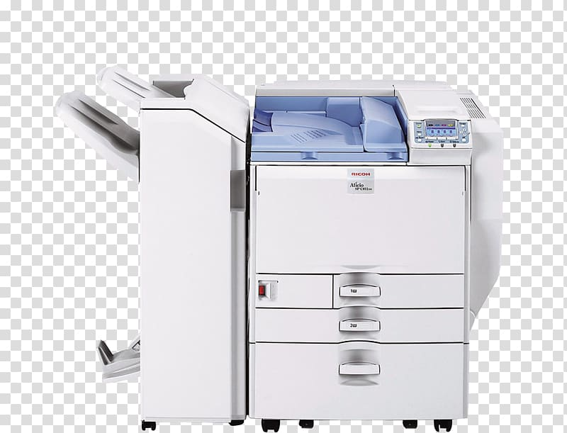 Paper copier Ricoh Machine Printing, White Printer.