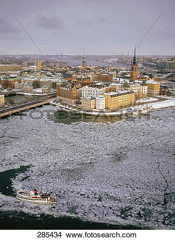 Stock Photo of Aerial view of city, Gamla Stan, Riddarholmen.