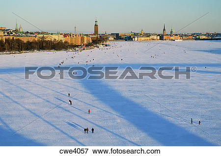 Picture of People promenading across frozen Riddarfjarden toward.