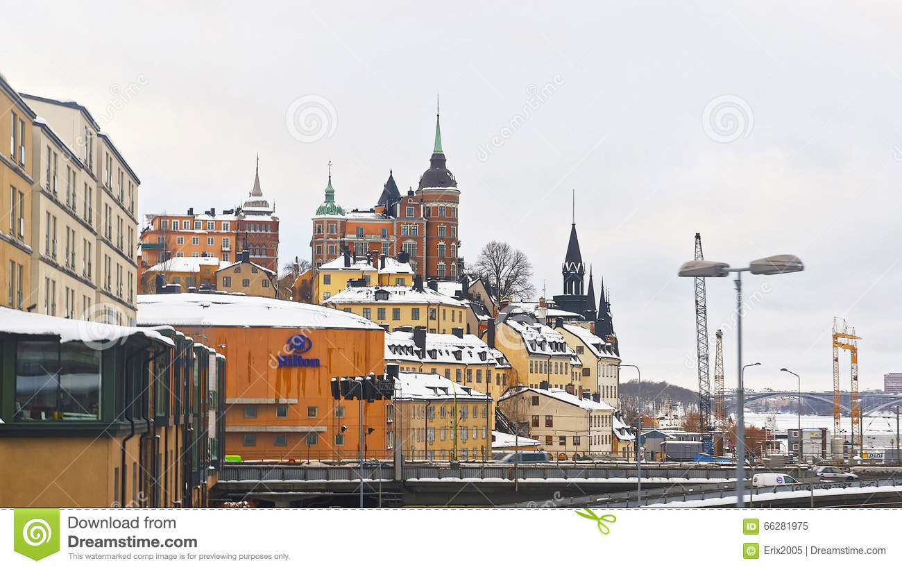 Northern Sodermalm And The Bridge To Riddarholmen In Winter Stoc.