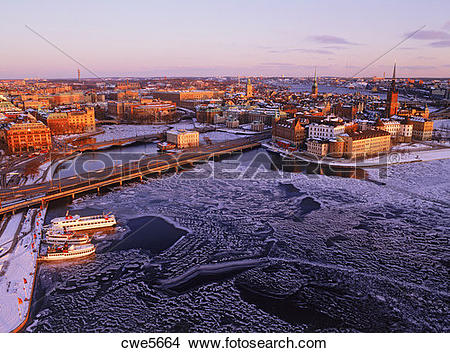 Stock Photo of Gamla Stan Old Town and Riddarholmen in Stockholm.