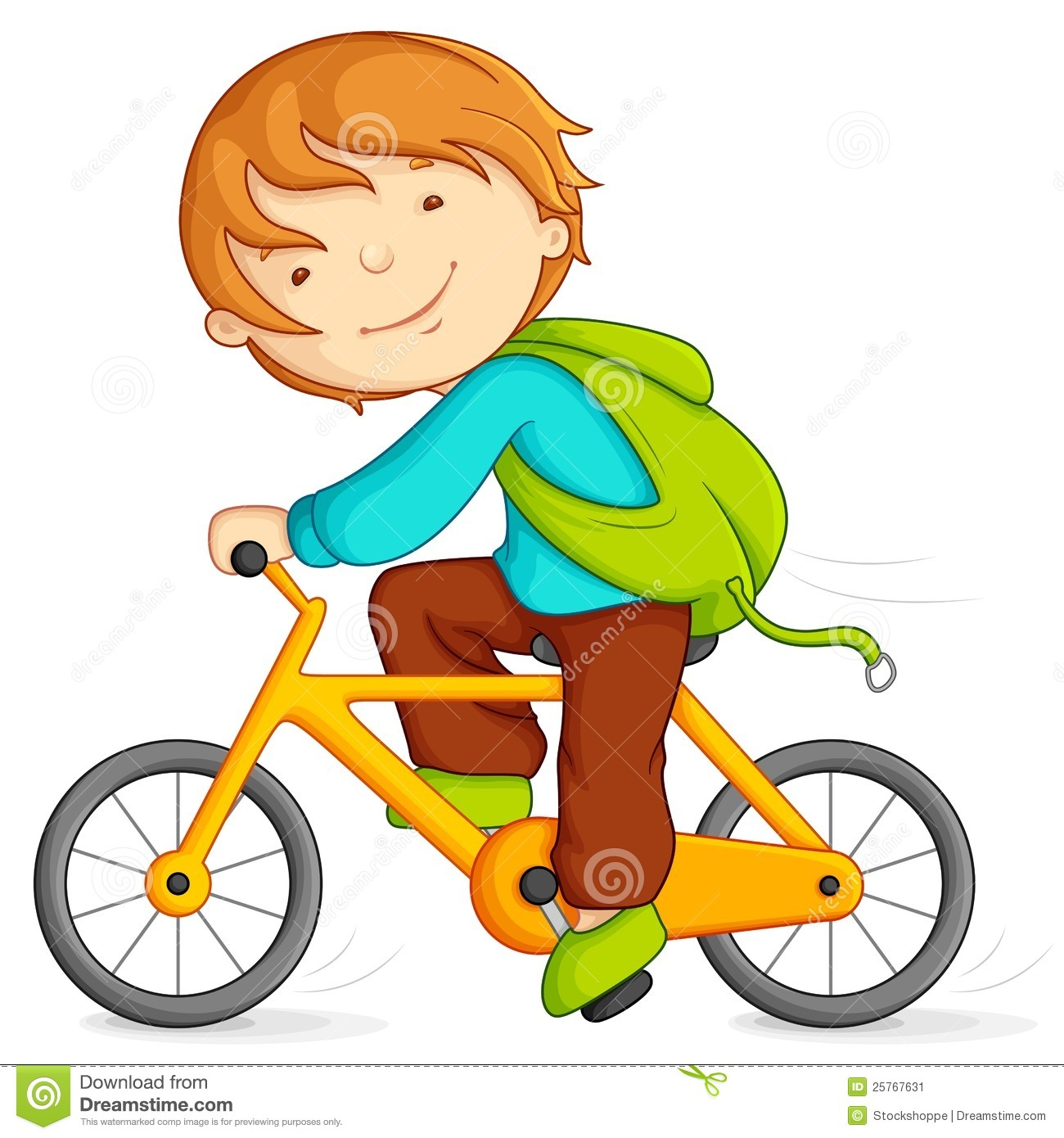 Child Riding A Bike Clipart.