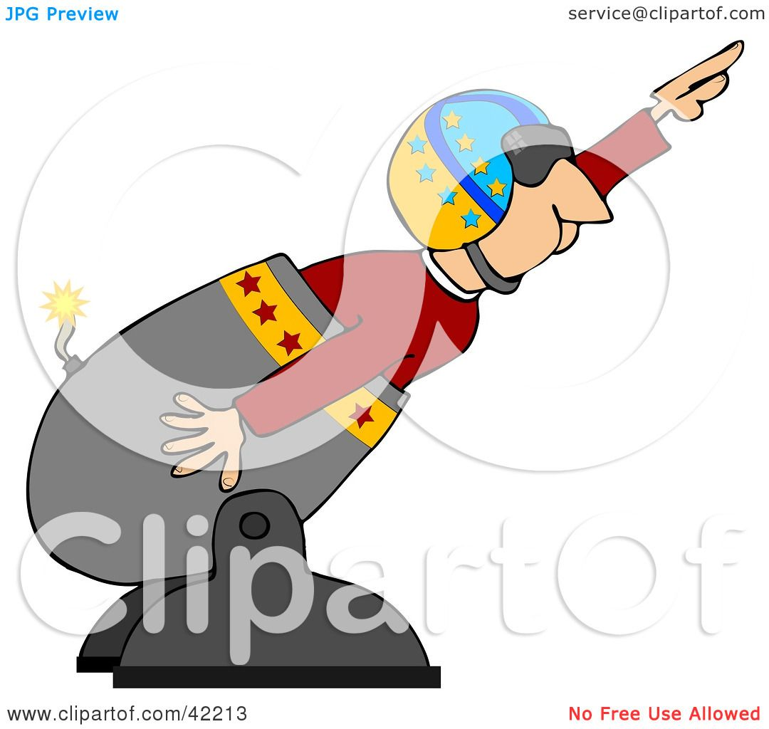 Clipart Illustration of a Male Human Cannonball In A Helmet.
