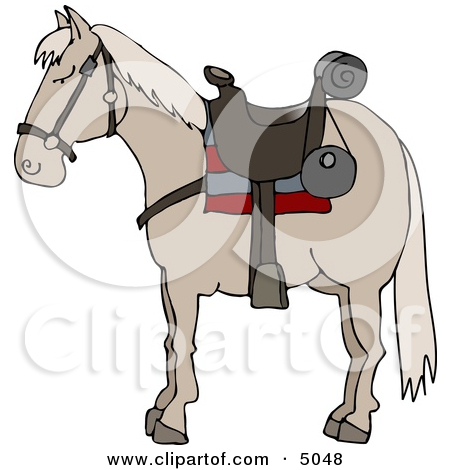 Riderless Horse Wearing Saddle Clipart by Dennis Cox #5048.