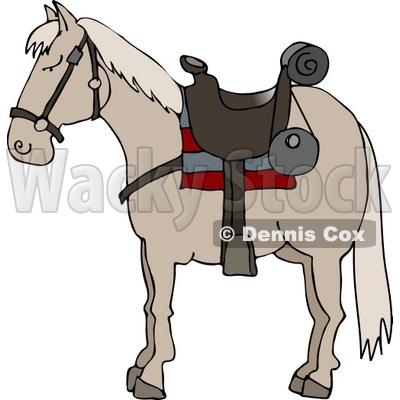 Horse Wearing Saddle Clipart © Dennis Cox #5048.