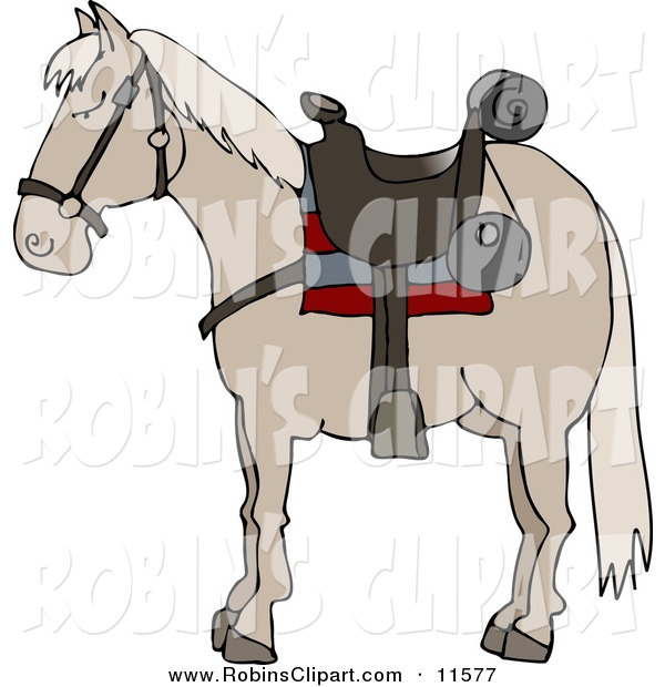 Clip Art of a Riderless Horse Wearing a Western Saddle by Dennis.