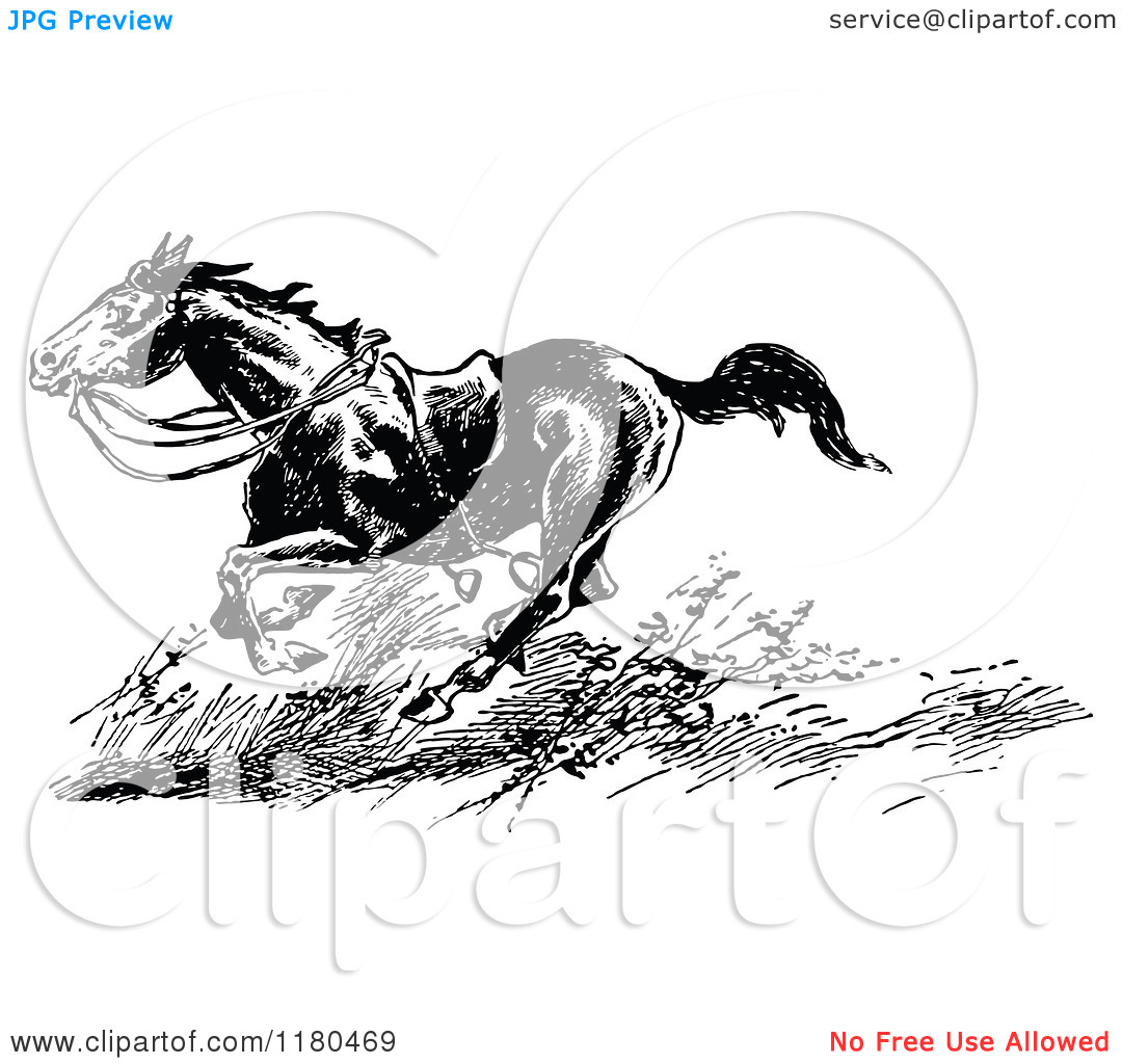 Clipart of a Retro Vintage Black and White Riderless Horse Running.