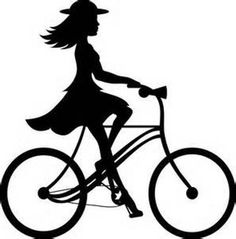 Clip Art Image of a Girl Riding a Bike Silhouette.
