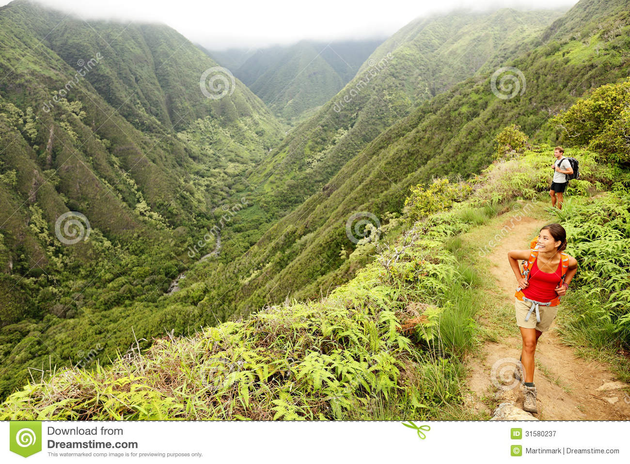 Hiking People On Hawaii, Waihee Ridge Trail, Maui Royalty Free.