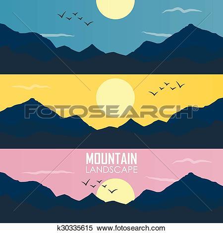 Clipart of Panorama vector illustration of mountain ridges.