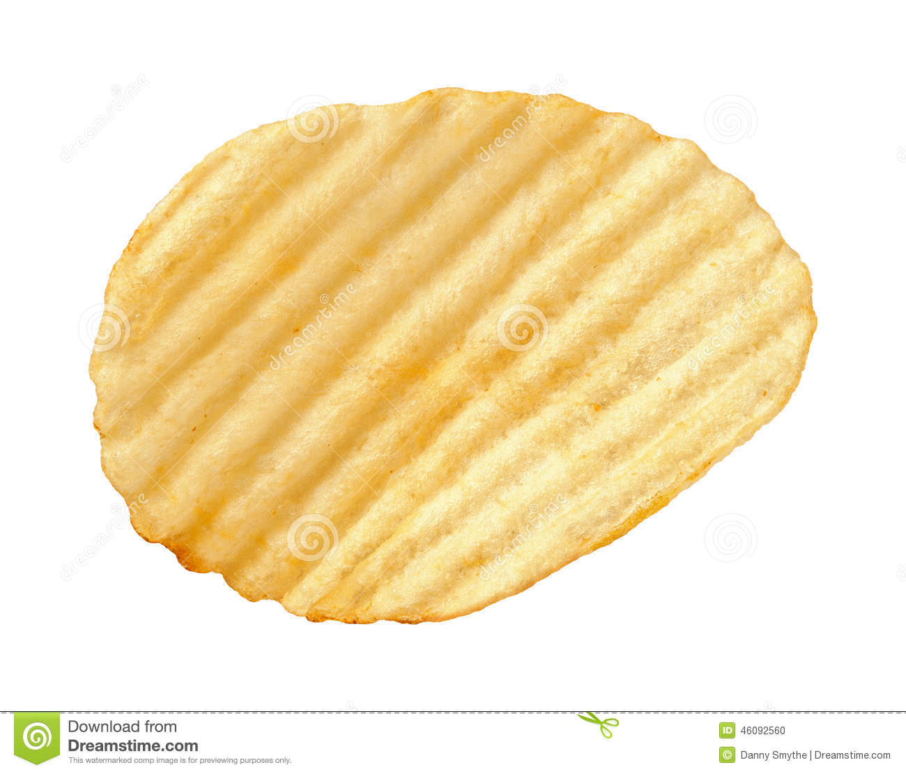 Potato Chip With Ridges Isolated Stock Photo.