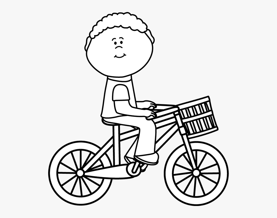 Black Amp White Boy Riding A Bicycle With A Basket.