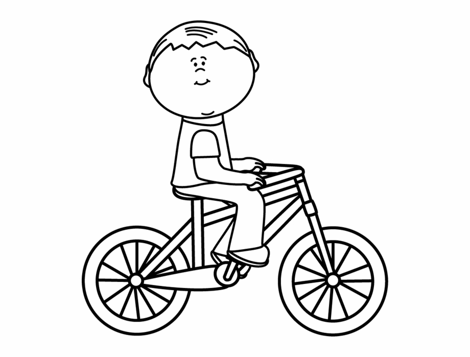 Black And White Boy Riding A Bicycle.