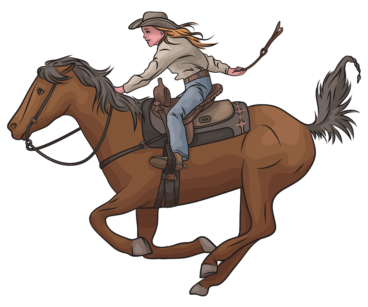 Cowgirl Riding Horse clipart. Free download..