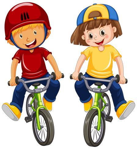 Urban Boys Riding Bicycle on White Background.