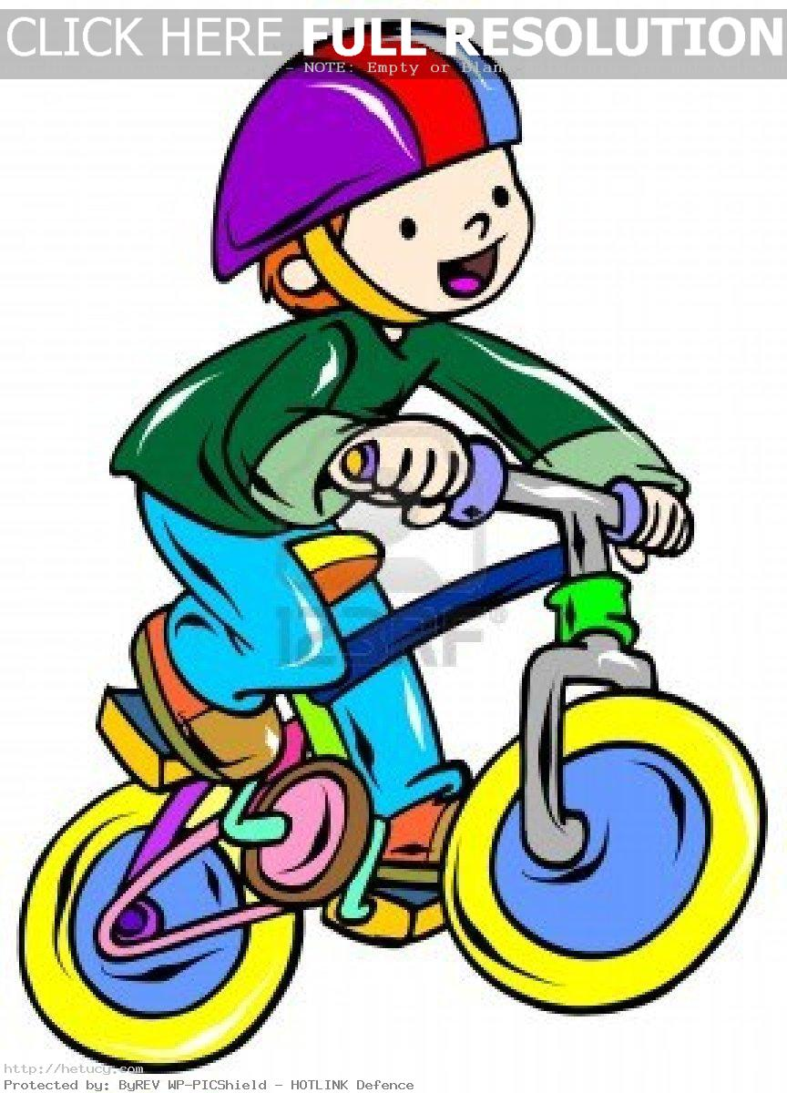 Kids Riding Bicycle Clipart.